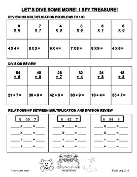 End of Year 3rd Grade CCSS Math Review Beach Theme