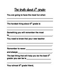 End of Year 5th grade Writing Activity