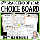 End of Year 6th Grade Math Choice Board - Great for Distan