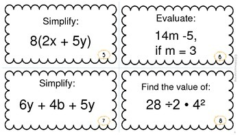6th Grade Math Review Task Cards Expressions, Equations, Ratios & Proportions