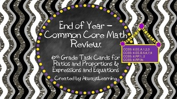 6th Grade Math Review Task Cards Expressions, Equations, R