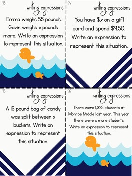 End of Year 6th Grade Math Task Cards