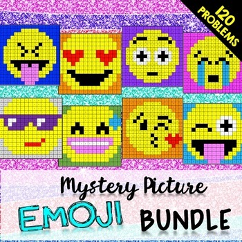 End of Year 6th Grade Review Bundle: Mystery Pictures (Emojis)