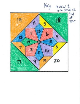 End of Year 6th Grade Social Studies Review Color by Answer #1