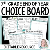 End of Year 7th Grade Math Choice Board - Great for Distan