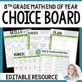 End of Year 8th Grade Math Choice Board