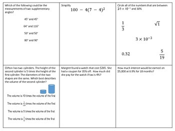 End of Year 8th Grade Math SOL Review