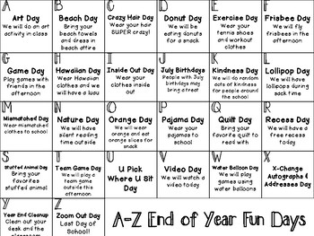 End of Year A-Z Theme Days