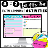 End of Year A to Z Activities: 34 Activities and Memory Book