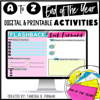 End of Year A to Z Activities: 34 Activities and Memory Book - Distance Learning