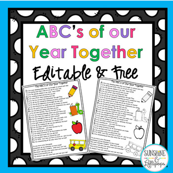 End of Year Freebie ABC's of Our Year Together Editable Freebie