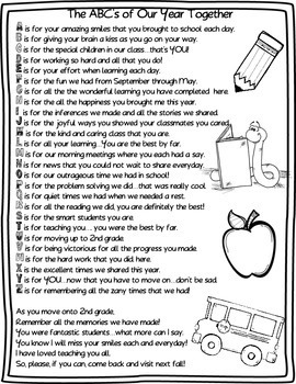 End of Year Free ABC's of Our Year Together (Teacher) Editable