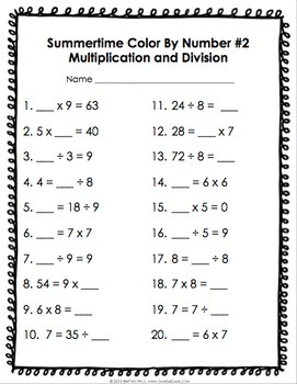 3rd Grade Math Review: 3rd Grade End of the Year Activities (Color ...