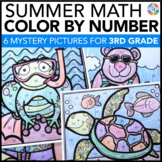 3rd Grade Math Review: 3rd Grade End of the Year Activities (Color by Number)
