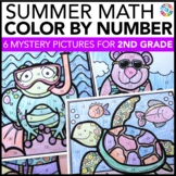 2nd Grade End of the Year Math Review {Color by Number Sum
