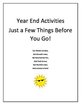 Year End Fun Math, Reading & Writing