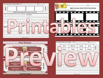 End of Year Activities: 5 Fun, Editable Activities with Movie Tickets