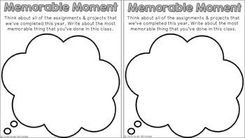 End of Year Activities -- Memory Book (SAMPLE)