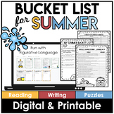 End of the Year | Bucket List Activity | Print and Digital