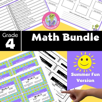 End of Year Activities for 4th Grade - 4th Grade Math Review Task Cards Bundle