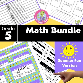 End of Year Activities for 5th Grade - 5th Grade Math Review Task Cards Bundle