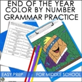 End of Year Activities for Middle School Color By Number Grammar Practice