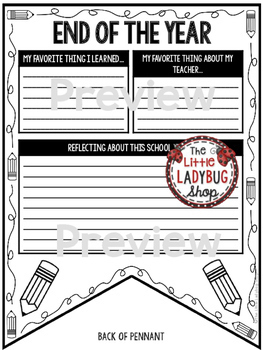 End of the Year Writing Activity Poster • Teach- Go Pennants™
