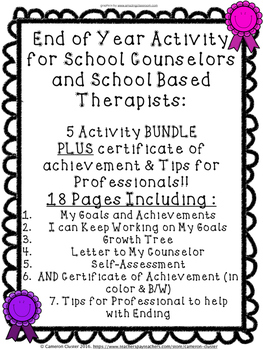 End of Year Activity BUNDLE for Counseling and Therapy