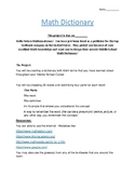 Math Dictionary: End of Year Activity For Middle Schoolers