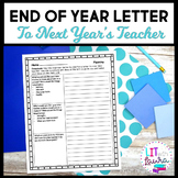 End of Year Activity Letter to Next Year's Teacher Print Version