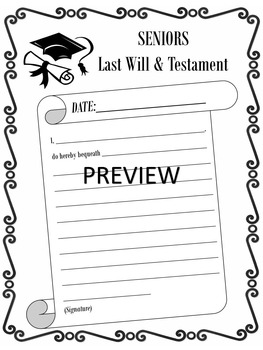 End of Year Activity MY LAST WILL AND TESTAMENT (updated)