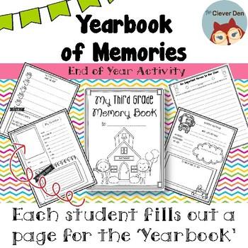 End of Year Activity: Third Grade Yearbook of Memories Keepsake