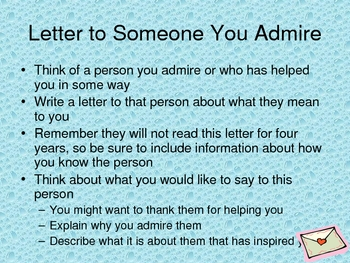 A letter to someone you admire