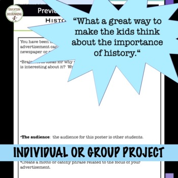 Why Study History Collaborative Back to School Activity that ROCKS! (editable)
