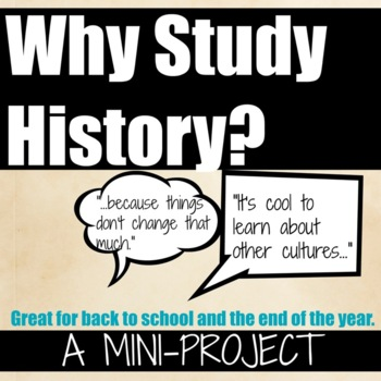 Back to School Why Study History Activity that ROCKS! (editable)