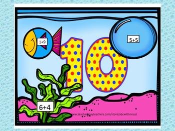 Add, Sort and Match the Math Fact Fish! No Prep Math Center