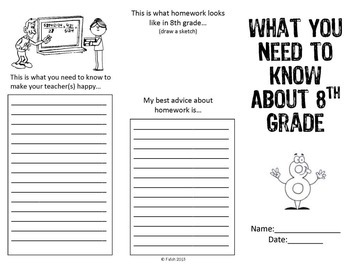 End of Year ~ Advice for Eight Grade Brochure
