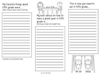 End of Year ~ Advice for Fifth Grade Brochure