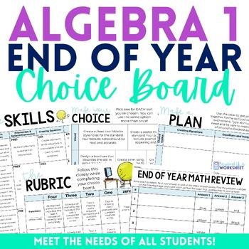 End of Year Algebra 1 Choice Board