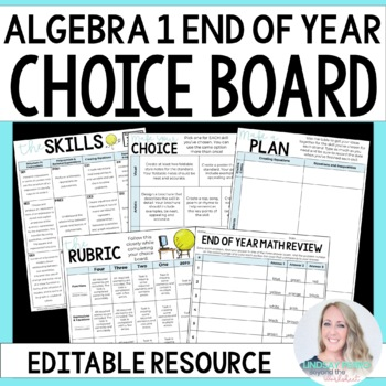 End of Year Algebra 1 Choice Board - Great for Distance Learning