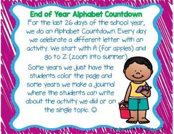 End of Year Alphabet Countdown
