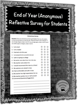 End of Year Anonymous Student Reflective Survey