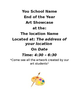 End of Year Art Show Case Flyer / Invite