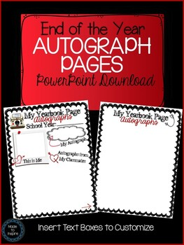 End of Year Autograph Pages