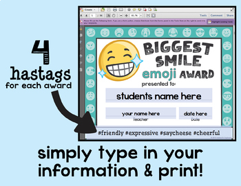 End of the Year Awards - End of Year Awards - Emojis & Hashtags Classroom Awards