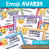 Editable End of Year Awards - Emoji Awards w/ Editable Hashtags -Student Awards