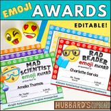 Editable - End of Year Awards - Emoji Awards - Classroom Awards -Student Awards