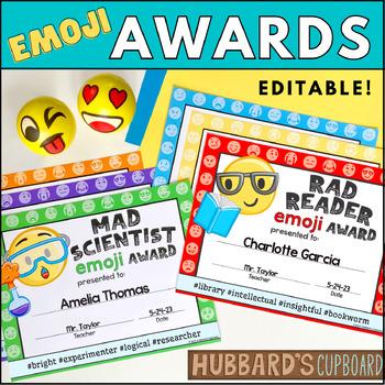 End of Year Awards EDITABLE - Emoji Awards - Classroom Awards -Student Awards