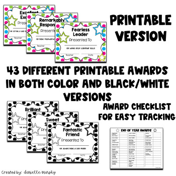 End of Year Award Certificates, Colorful Polka Dot or Black and White--Editable