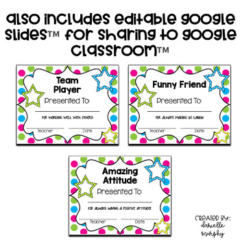 End of Year Award Certificates Colorful Polka Dot or Black and White EDITABLE